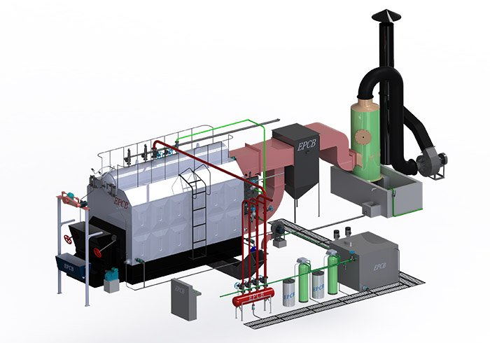 EPCB Horizontal Chain Grate Biomass Fired Water Tube Steam Boiler